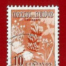 Sellos: ECUADOR. 1954. PRODUCTOS AGRICOLAS. PLATANO. FLORES. Lote 207910535
