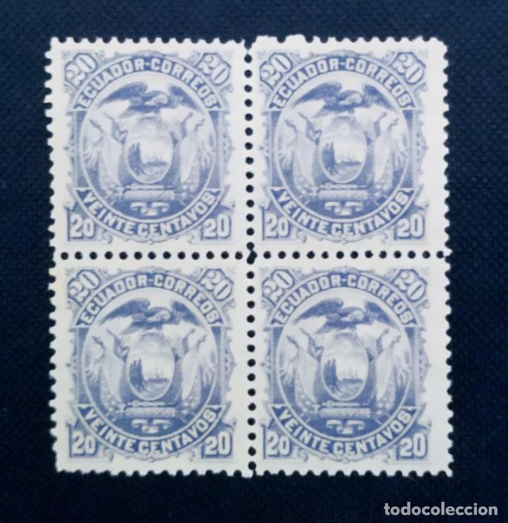 Sellos: COLECCIÓN SELLOS DE ECUADOR 1881 - 1887, ESCUDO NACIONAL, BLOQUE DE 4 - Foto 6 - 212097356