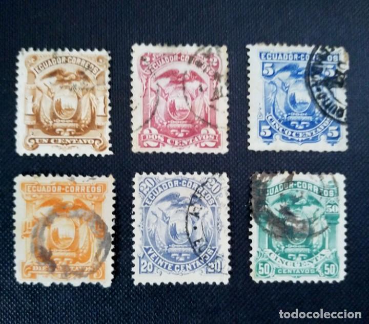 SELLO POSTAL DE ECUADOR ESCUDO NACIONAL DE 1881 - 1887, (Sellos - Extranjero - América - Ecuador)