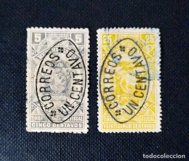 SELLOS DE ECUADOR 1903 - 1906, FISCALES DE 1901 - 1902, SOBRECARGADOS CORREOS (Sellos - Extranjero - América - Ecuador)