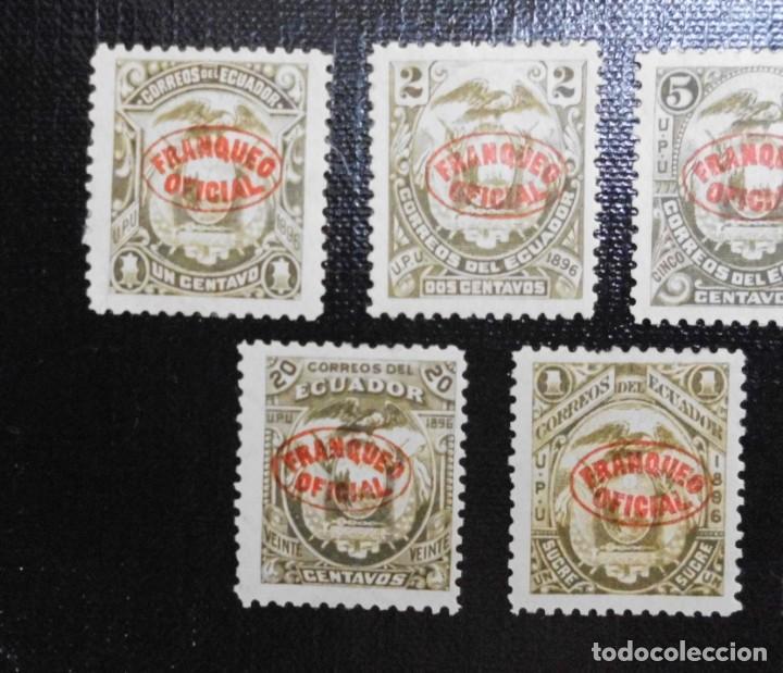 Sellos: COLECCIÓN DE SELLOS POSTALES ESCUDO DE ECUADOR 1896 SOBRECARGADOS, FRANQUEO OFICIAL EN FORMA OVAL - Foto 2 - 212256960