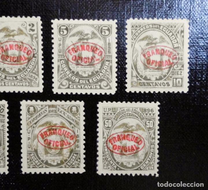Sellos: COLECCIÓN DE SELLOS POSTALES ESCUDO DE ECUADOR 1896 SOBRECARGADOS, FRANQUEO OFICIAL EN FORMA OVAL - Foto 3 - 212256960
