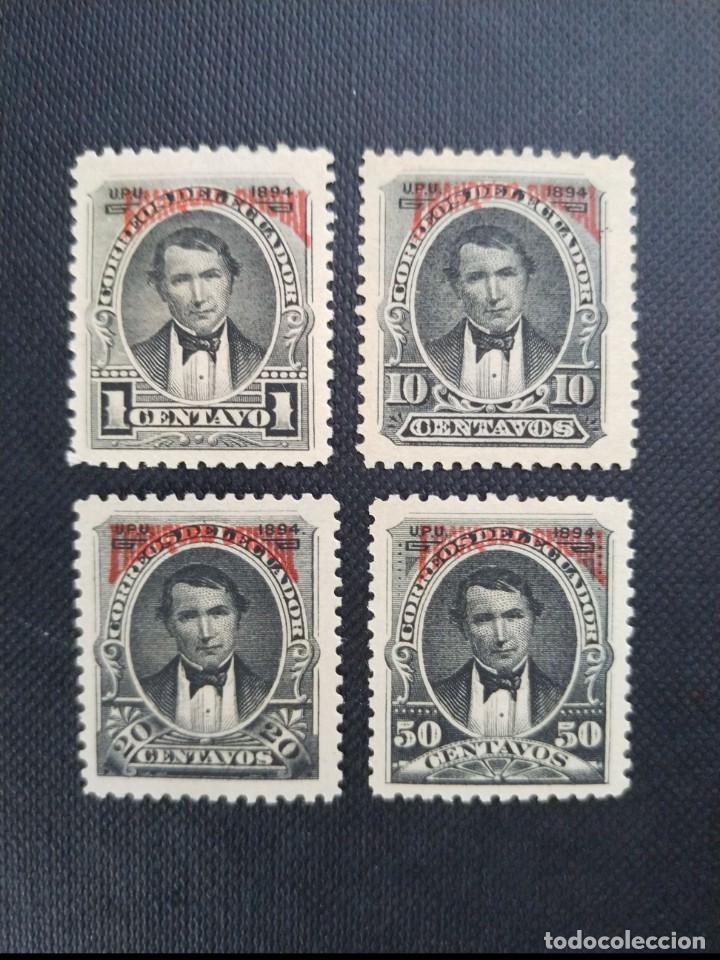 COLECCIÓN DE SELLOS DE ECUADOR 1894, SELLOS POSTALES DE 1892 SOBRECARGADOS, FRANQUEO OFICIAL EN ROJO (Sellos - Extranjero - América - Ecuador)