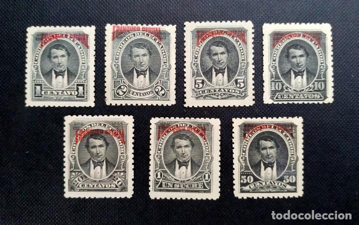 COLECCIÓN DE SELLOS ECUADOR 1895, SELLOS POSTALES TIPO 1892 SOBRECARGADOS, FRANQUEO OFICIAL EN ROJO (Sellos - Extranjero - América - Ecuador)