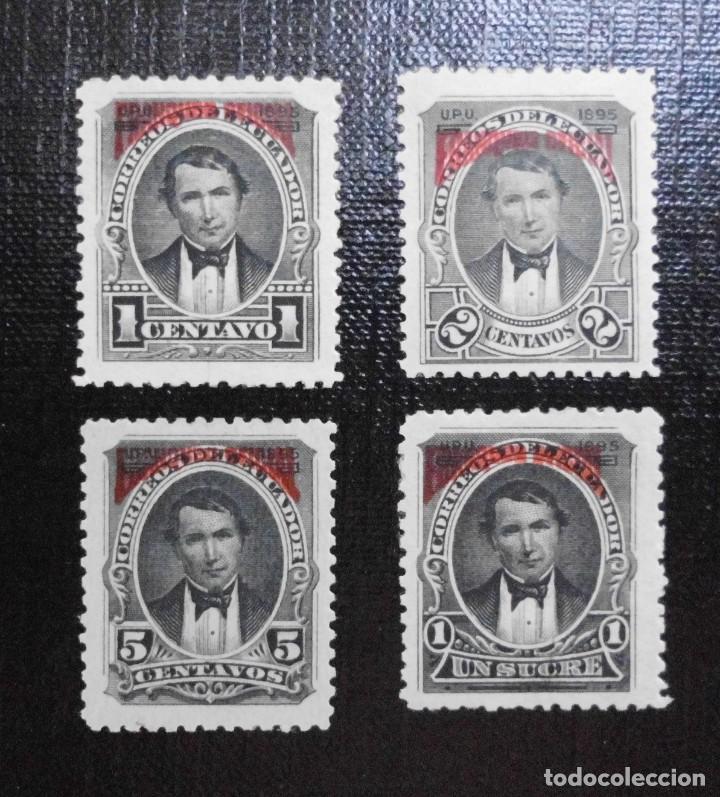 COLECCIÓN SELLOS DE ECUADOR 1895, SELLOS POSTALES TIPO 1892 SOBRECARGADOS, FRANQUEO OFICIAL EN ROJO (Sellos - Extranjero - América - Ecuador)