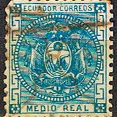 Sellos: ECUADOR Nº 6 (AÑO 1872), ESCUDO NACIONAL, USADO. Lote 214473262