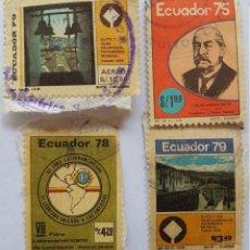Sellos: ECUADOR, CARLOS AMABLE ORTIZ, FORO DE LEONISMO, QUITO Y LAS GALAPAGOS PATRIMONIO MUNDIAL, 1975 1978. Lote 217582741