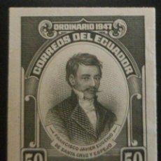 Sellos: O) ECUADOR 1947, PRUEBA DE DADO, PROCEDIMIENTO DE INDEPENDENCIA, DOCTOR, INVESTIGADOR FRANCISCO JAVI. Lote 222295268
