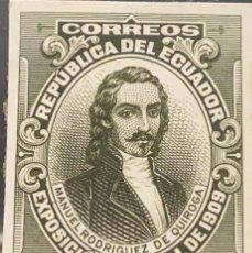 Sellos: O) 1909 ECUADOR, PRUEBA DE DADO MANUEL R. DE QUIROGA SCT 188 1S VERDE OLIVA, REVOLUCIÓN DE QUITO, JU. Lote 226128620