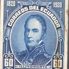 Sellos: O) 1920 ECUADOR, PRUEBA DE DADO, JUAN ILLINGWORTH SC 238 60C DK BLUEE, GUERRA DE EMANCIPACIÓN HISP. Lote 226136043
