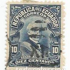 Sellos: SELLO USADO DE ECUADOR DE 1907 - YVERT 151 -PRESIDENTE GABRIEL GARCIA MORENO- VALOR 10 CTV. Lote 227032505