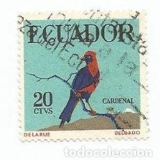 Sellos: SELLO USADO DE ECUADOR DE 1958 - YVERT 644 -PAJARO TROPICAL-CARDENAL - VALOR 20 CENTAVOS. Lote 227053505
