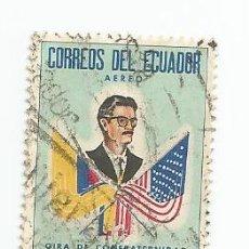 Sellos: SELLO USADO DE ECUADOR DE 1963 YVERT 412 -CORREO AEREO - BANDERAS ECUADOR Y EEUU-VALOR 4 SUCRES. Lote 227061380
