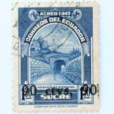 Sellos: SELLO POSTAL ECUADOR 1950, 90 C, REGADIO DE RIOBAMBA, OVERPRINT, USADO. Lote 231706415