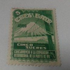Sellos: SELLO 5 SUCRES ECUADOR AEREO CONCURRENCIA A LA EXPOSICION PUERTA ORO 1939 USADO. Lote 241452470