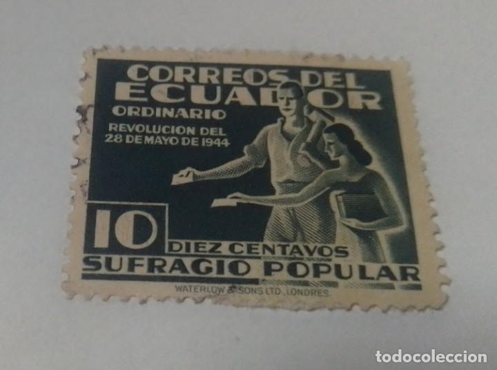 SELLO 10 CENTAVOS SUFRAGIO POPULAR REVOLUCION 28 MAYO 1944 ECUADOR SELLADO (Sellos - Extranjero - América - Ecuador)