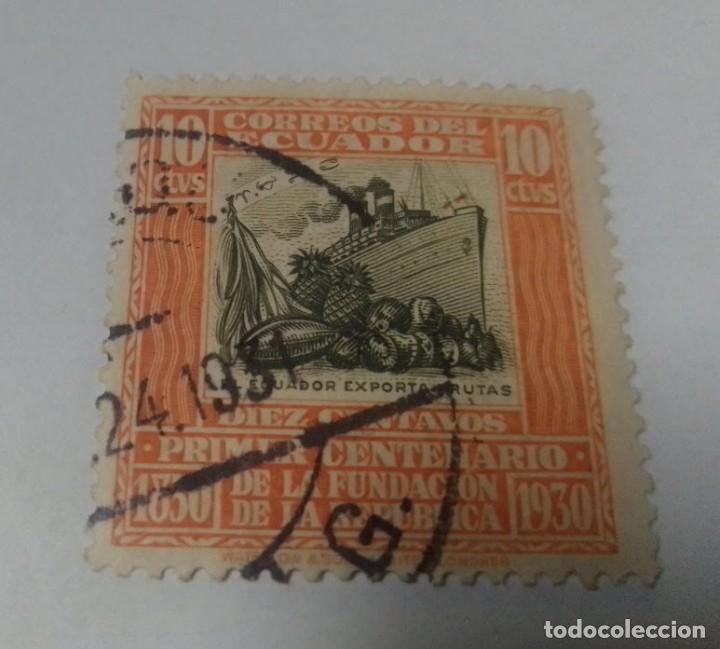 SELLO 10 CENTAVOS CENTENARIO FUNDACION REPUBLICA 1930 ECUADOR SELLADO (Sellos - Extranjero - América - Ecuador)
