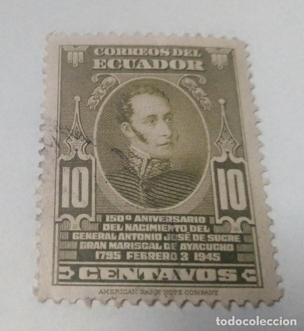 SELLO 10 CENTAVOS 150 ANIVERSARIO DEL NACIMIENTO GENERAL ANTONIO JOSE SUCRE ECUADOR USADO (Sellos - Extranjero - América - Ecuador)
