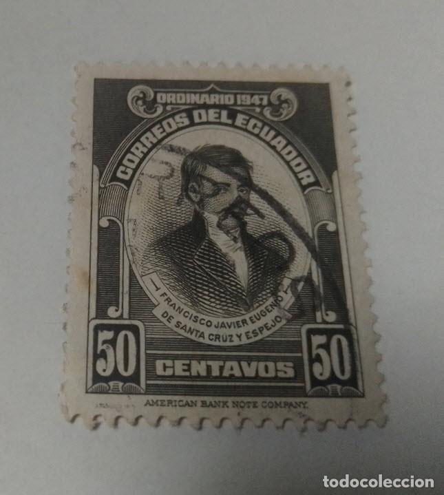 SELLO 50 CENTAVOS ORDINARIO 1947 ECUADOR FRANCISCO JAVIER EUGENIO DE SANTA CRUZ Y ESPEJO SELLADO (Sellos - Extranjero - América - Ecuador)