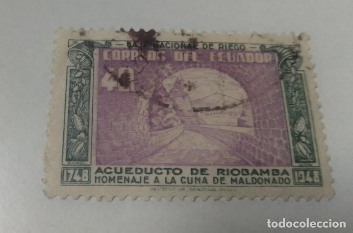 SELLO 40 C ACUEDUCTO DE RIOBAMBA ECUADOR SELLADO (Sellos - Extranjero - América - Ecuador)