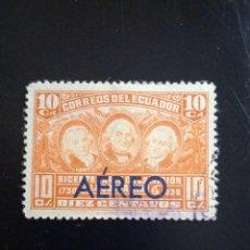Sellos: ECUADOR 10 CENTS, AEREO, LA MISION CONDAMINE, AÑO 1936... Lote 245939030