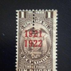 Sellos: ECUADOR 1 SUCRE, TIMBRE FISCAL, AÑO 1920.. Lote 245940105