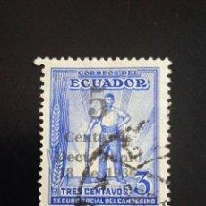 Sellos: ECUADOR 3 CENTS, SEGURIDAD SOCIAL DEL CAMPESINO AÑO 1936.. Lote 245943470