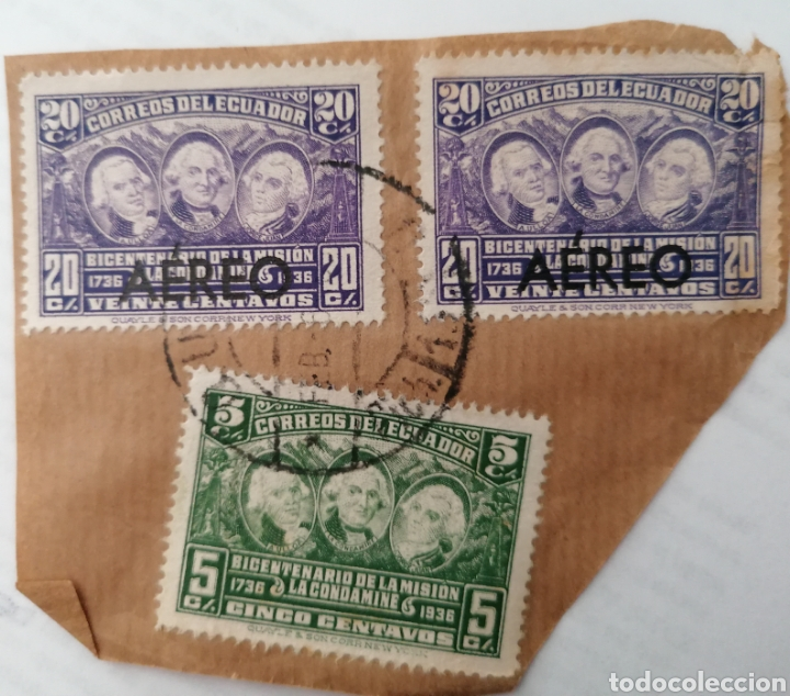 ECUADOR. 3 SELLOS 5 Y 20 CENTAVOS PEGADOS A TROZO DE CARTA. MATASELLOS, 1936 (Sellos - Extranjero - América - Ecuador)