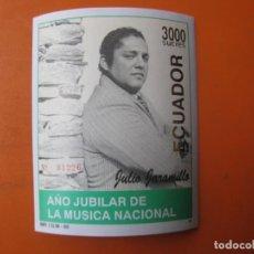 Sellos: ECUADOR, HOJITA AÑO JUBILAR DE LA MUSICA NACIONAL.. Lote 253560130