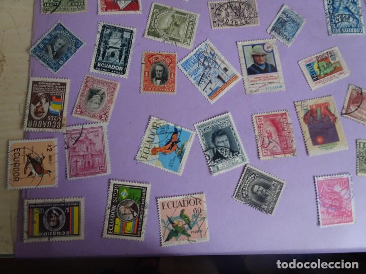 Sellos: LOTE DE 100 SELLOS VARIADOS DE ECUADOR, ANTIGUOS Y MODERNOS, VER FOTOS - Foto 2 - 286327143