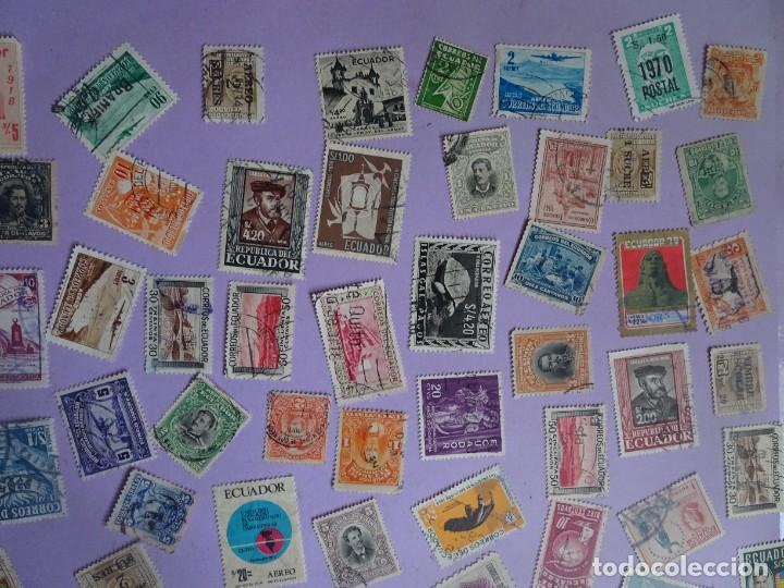 Sellos: LOTE DE 100 SELLOS VARIADOS DE ECUADOR, ANTIGUOS Y MODERNOS, VER FOTOS - Foto 4 - 286327143