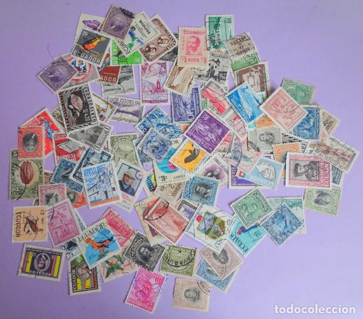 Sellos: LOTE DE 100 SELLOS VARIADOS DE ECUADOR, ANTIGUOS Y MODERNOS, VER FOTOS - Foto 6 - 286327143