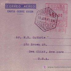 Sellos: AEROGRAMA USADO (EDIFIL NUMERO 36). RARO MATASELLOS CORREO AEREO ZARAGOZA 1949. MPM.. Lote 26354182