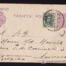 Sellos: ESPAÑA.(CAT. 50FH + SELLO 314).1923. E.P. DE BARCELONA A BÉLGICA.FRANQUEO COMPLEMENTARIO.MUY BONITO.. Lote 24565157