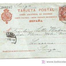Sellos: ENTERO POSTAL CIRCULADO 1906 MÁLAGA - SUIZA. Lote 26496052