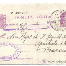 Sellos: ENTERO CIRCULADO CÓRDOBA - BARCELONA 1934. Lote 26735394