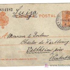 Sellos: ENTERO POSTAL BARCELONA - SUIZA 1915. Lote 27226486
