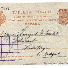 Sellos: ENTERO POSTAL CIRCULADO 1913 MADRID - ALEMANIA. Lote 7081644