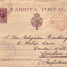 Selos: EP ARMET Y PLAYA (EDIFIL 27) CIRCULADO 1891 DE BARCELONA A INGLATERRA. RARA MARCA ROJA. LLEGADA. MPM. Lote 26547890