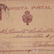 Sellos: ENTERO POSTAL (J. GRAU Y COMPAÑIA) CIRCULADO 1894 DE BARCELONA A VALENCIA. MATASELLOS LLEGADA. MPM.. Lote 26647392