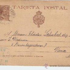 Sellos: ENTERO POSTAL CIRCULADO BARCELONA - VIENA 1891. Lote 13796114