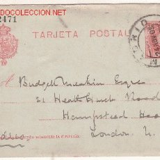 Sellos: ENTERO POSTAL CIRCULADO 1905 MADRID-LONDRES. Lote 17143202
