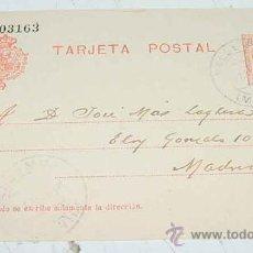 Sellos: ANTIGUA ENTERO POSTAL - EPOCA ALFONSO XIII - CIRCULADA.. Lote 11491099