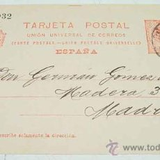 Sellos: ANTIGUA ENTERO POSTAL - EPOCA ALFONSO XIII - CIRCULADA.. Lote 11491125
