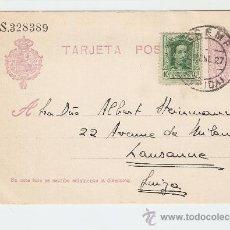 Sellos: ENTERO POSTAL TREMP (LÉRIDA) - SUIZA 1927 FRANQUEO COMPLEMENTARIO. Lote 27137681