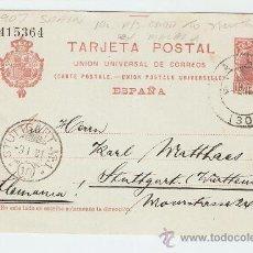 Sellos: ENTERO POSTAL CIRCULADO MÁLAGA - STUTTGART 1907. Lote 13472139