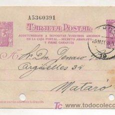 Timbres: ENTERO POSTAL. 1938. REPÚBLICA ESPAÑOLA. TEXTO: ACOSTUMBRAOS A DEPOSITAR VUESTROS AHORROS .... Lote 12740953