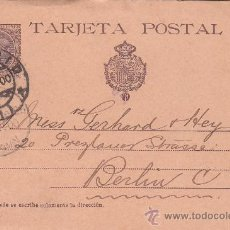 Selos: ENTERO POSTAL ALFONSO XIII PELON (EDIFIL 36) CIRCULADO 1900 DE MADRID A BERLIN. LLEGADA. MPM.. Lote 26374639