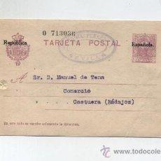 Sellos: TARJETA ENTERO POSTAL Nº 61 'TIPO VAQUER' 1ª SERIE SOBRECARGADO REPUBLICA, MATASELLADO. Lote 13826727