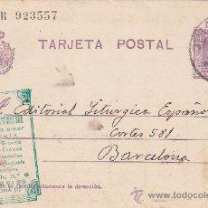 Sellos: ALCANCE NORTE MADRID EN ENTERO POSTAL ALFONSO XIII VAQUER CIRCULADO 1928 DE MADRID A BARCELONA. MPM. Lote 26490317